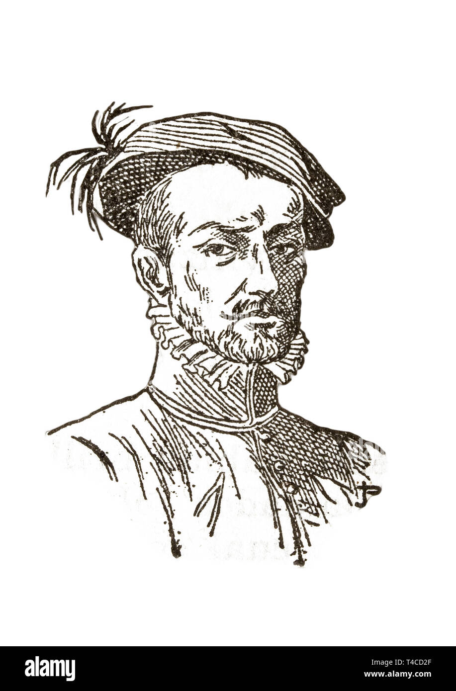 Badajoz, Spain - Jan 7th, 2019: Hernán Cortés Portrait. Draw from book Enciclopedia Autodidactica published by Dalmau Carles in 1954 Stock Photo