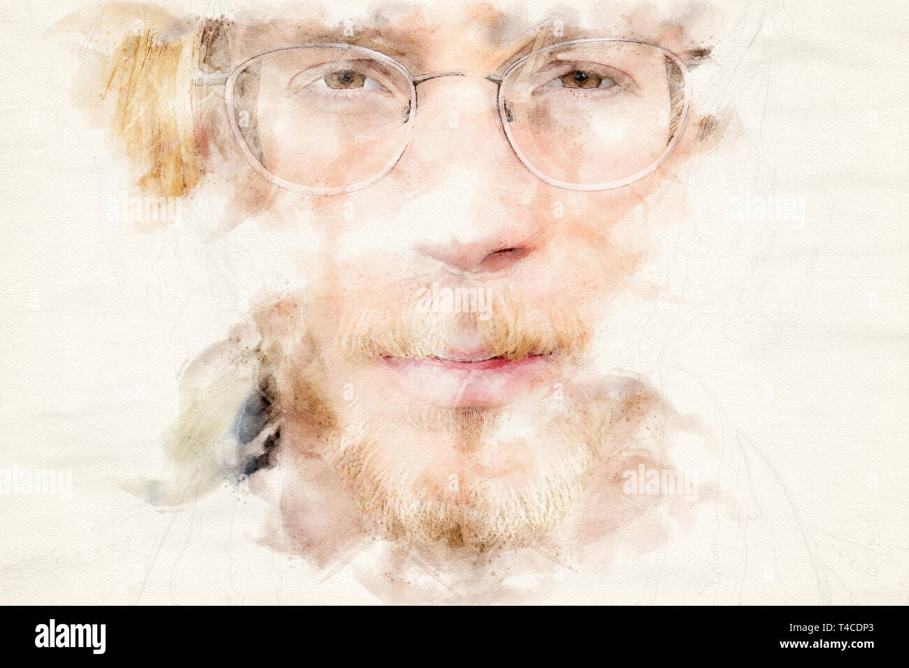 portrait of young bearded man in watercolors - Stock Image