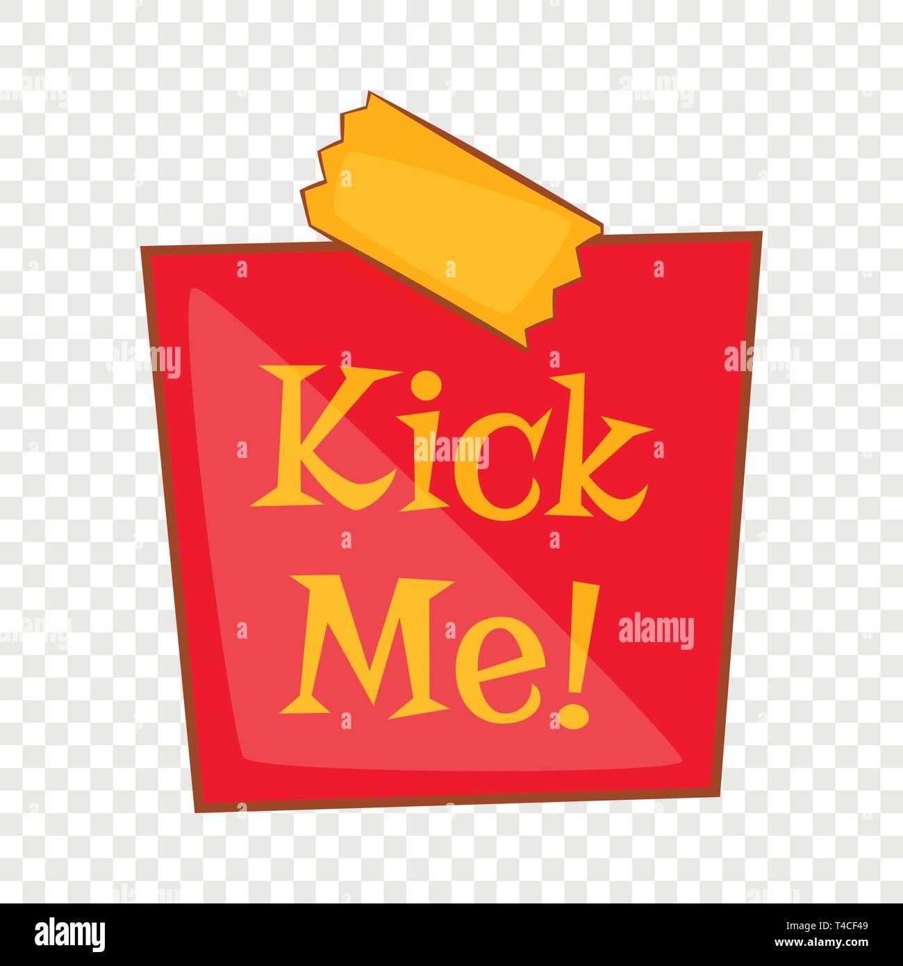 Joke inscription kick me icon, cartoon style - Stock Vector