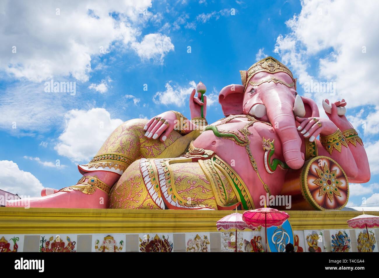 Lord ganesh big statue pink sleep at wat saman temple,chachoengsao,thailand - Stock Image
