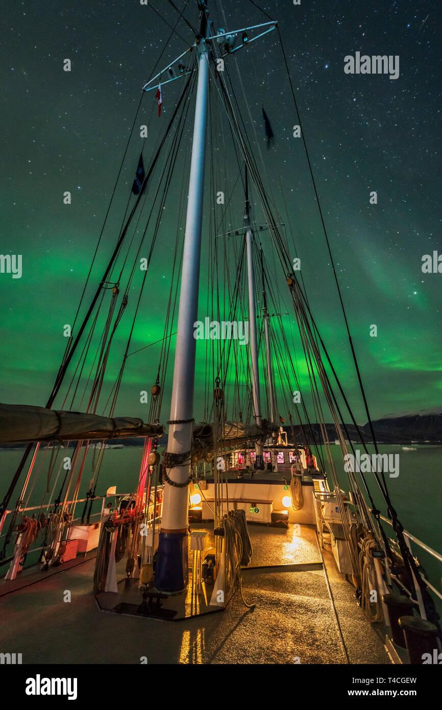 Aurora Borealis, Rembrant Van Rijn, Schooner Ship, Scoresbysund, Greenland - Stock Image