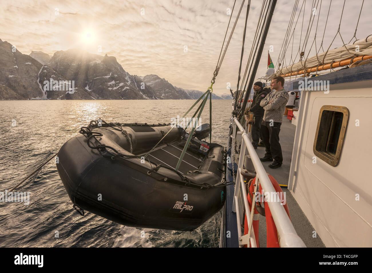 Lifeboat, Rembrant Van Rijn, Schooner Ship, Scoresbysund, Greenland - Stock Image