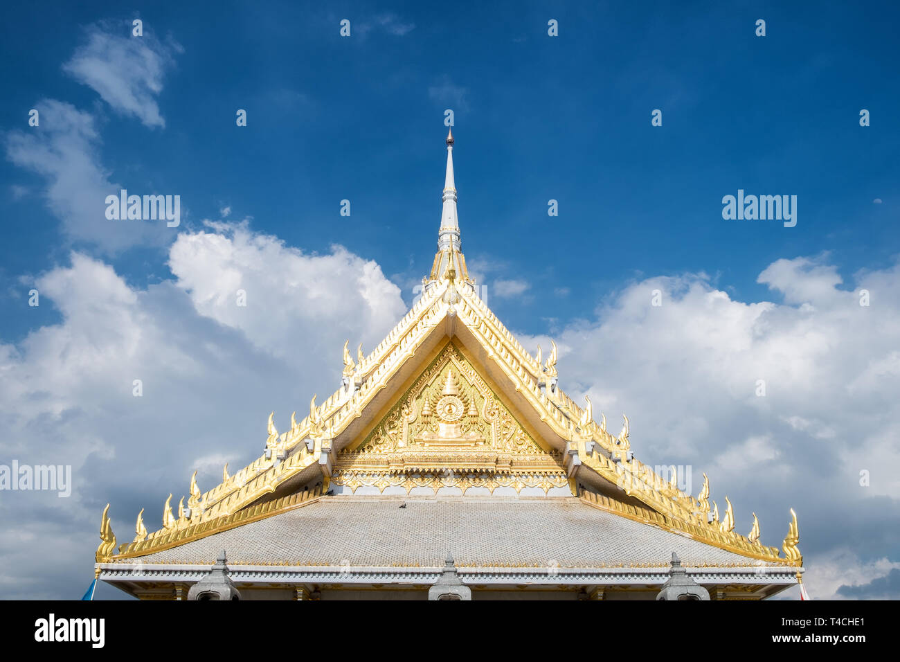 Architectural magnificent church roof gable at wat sothon temple,chachoengsao,thailand - Stock Image
