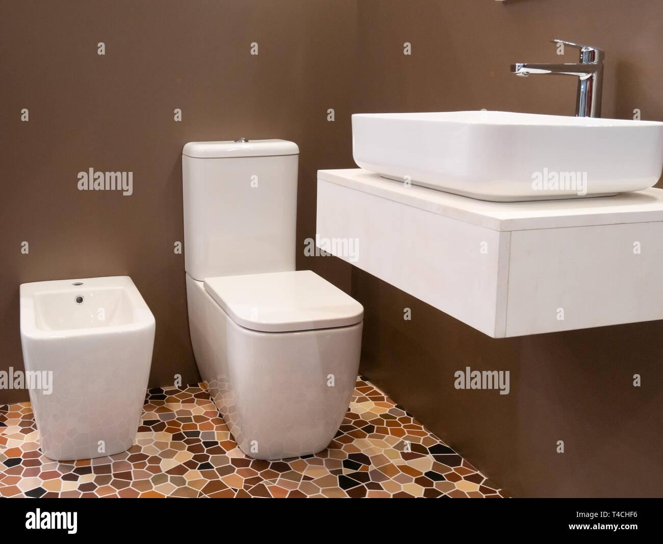 Modern Interior Design Of Hotel Bathroom With Washbasin Toilet And Bidet Stock Photo Alamy