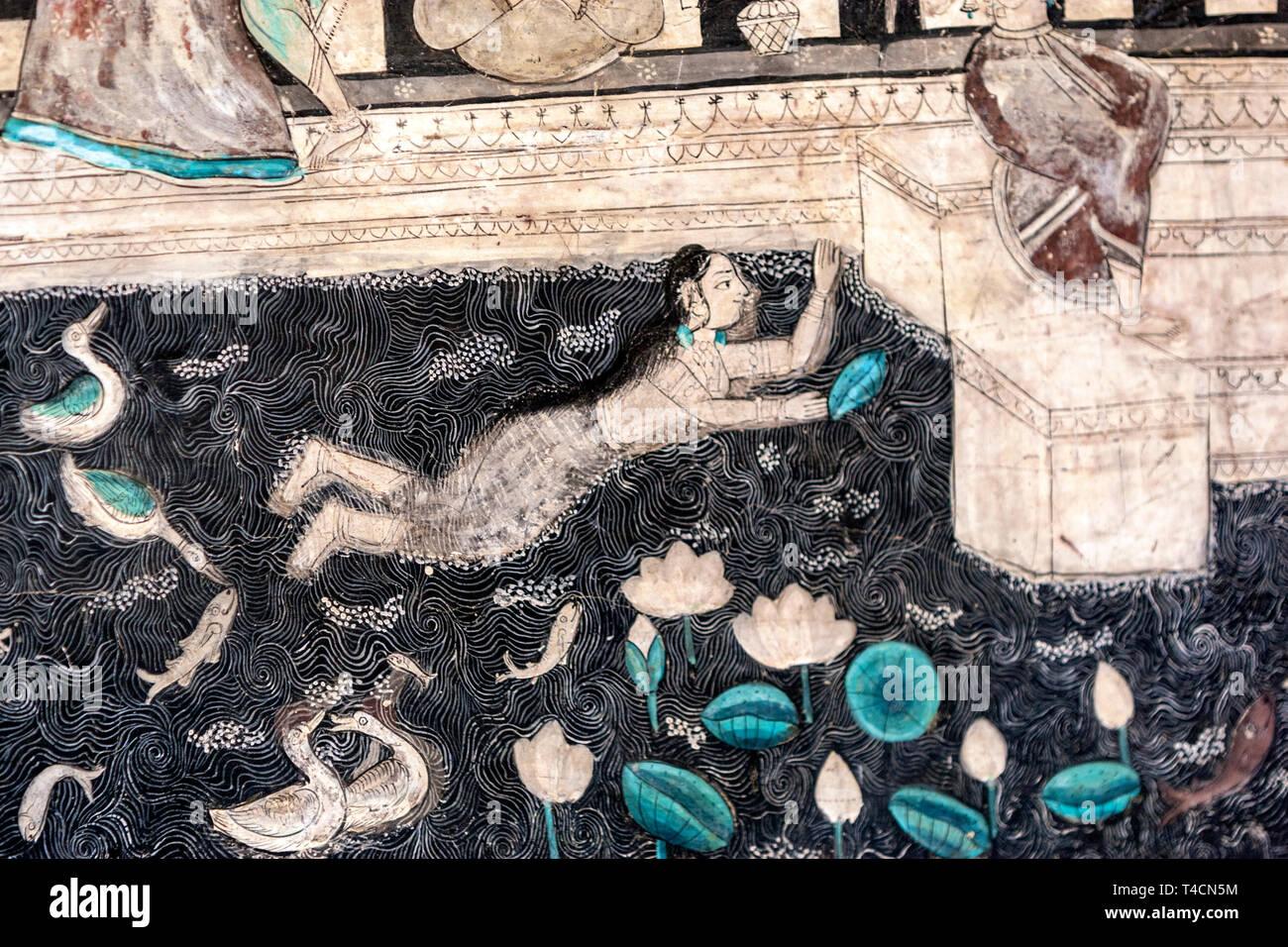 Wall Paintings in west veranda, Chitra Mahal, Bundi Palace, Bundi, Rajasthan, India - Stock Image