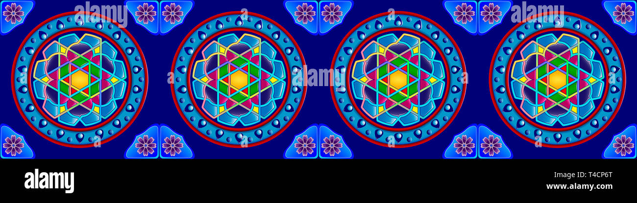 The traditional ornament of the inhabitants of the east and the Arab world, in which rich colors attract good luck and wealth. - Stock Image