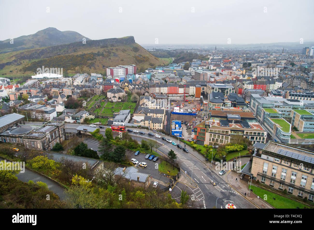 View from Nelson Monument, Calton Hill, Edinburgh. GV, New Waverley development, market street, arthur seat, crags, skyline, cannongate cemetery Stock Photo