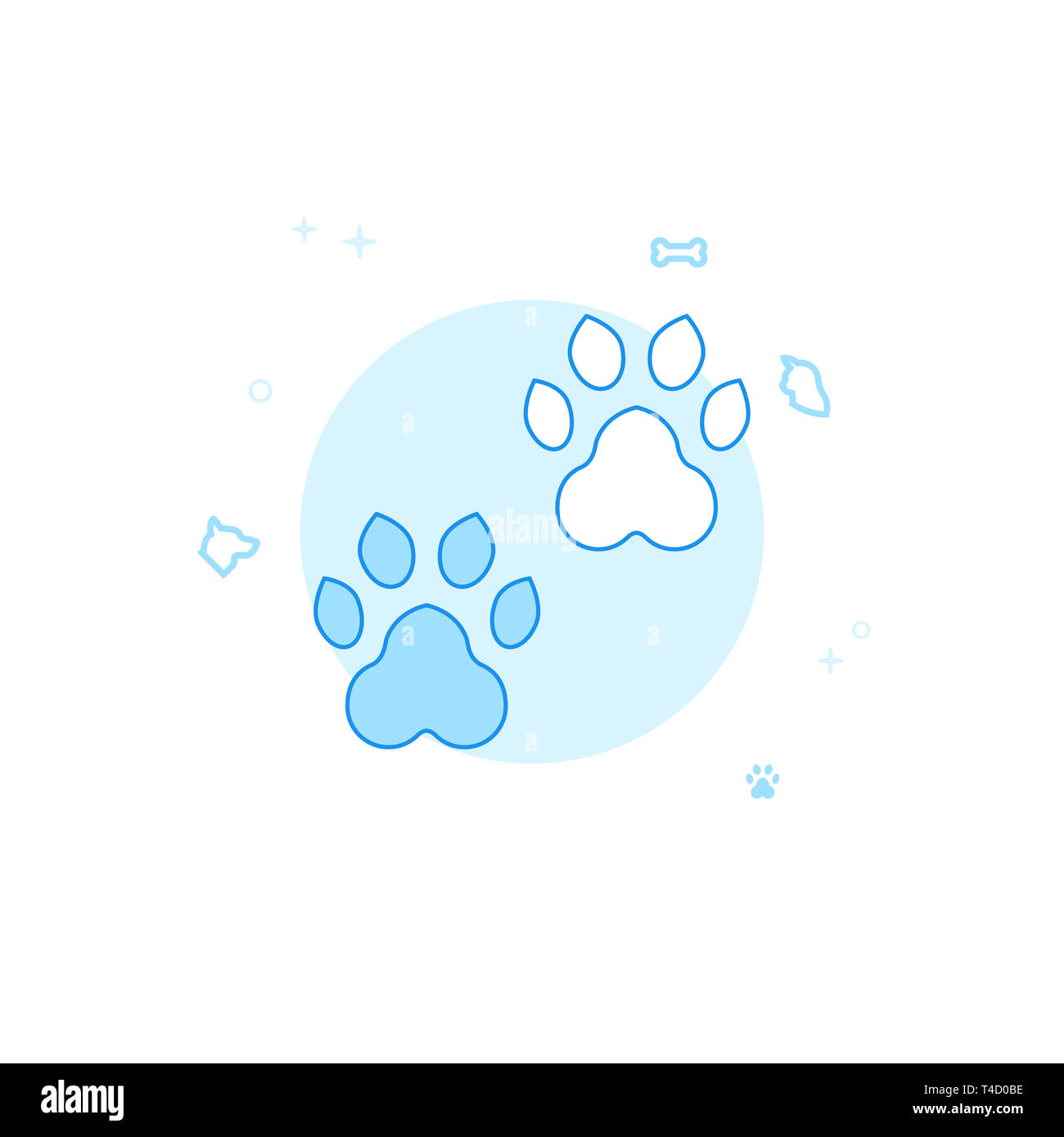 Animal Tracks, Footprints Flat Icon. Pet and Pet Supply Illustration. Light Flat Style. Blue Monochrome Design. - Stock Image