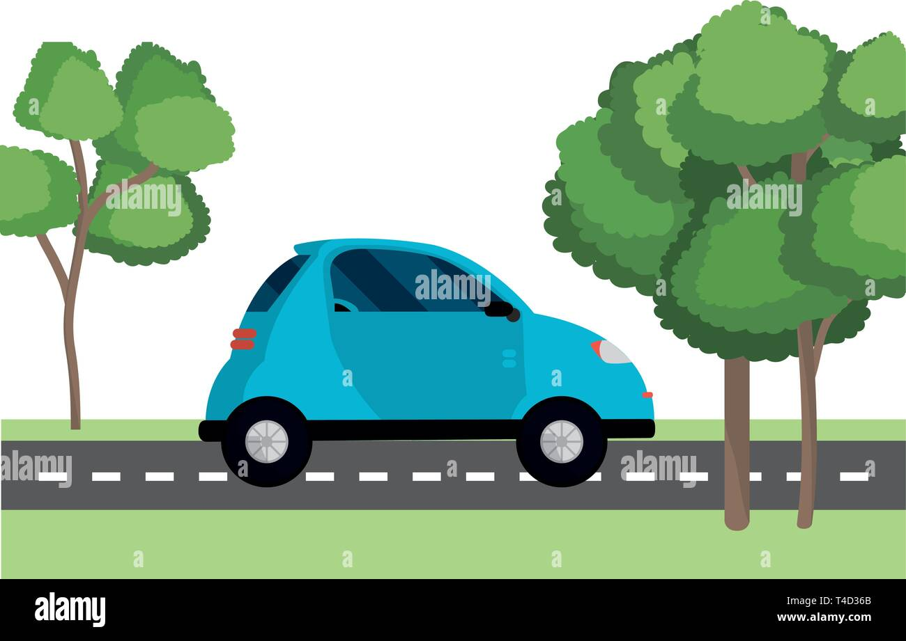 transportation concept car at street between nature cartoon vector illustration graphic design - Stock Image