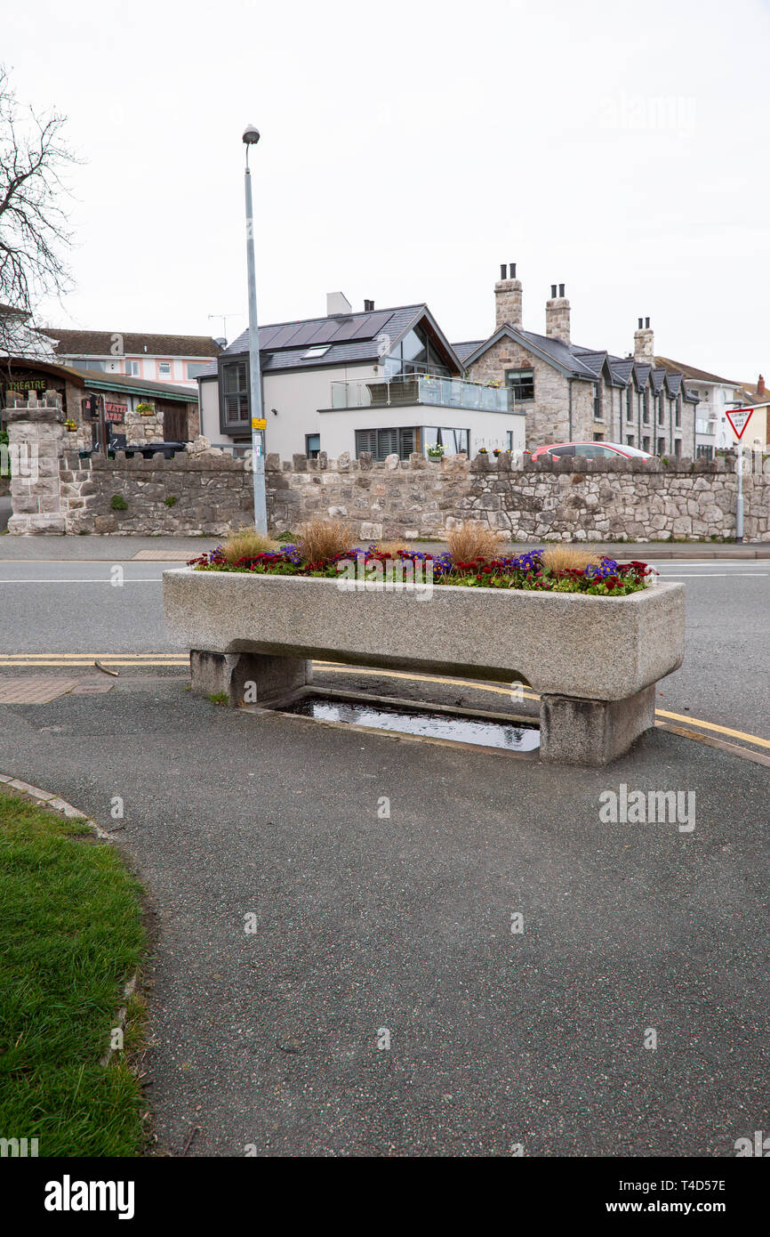 Traditional stone horse trough adjacent to a road in Rhos on Sea, North Wales, now utilised as a container for displaying flowers. - Stock Image
