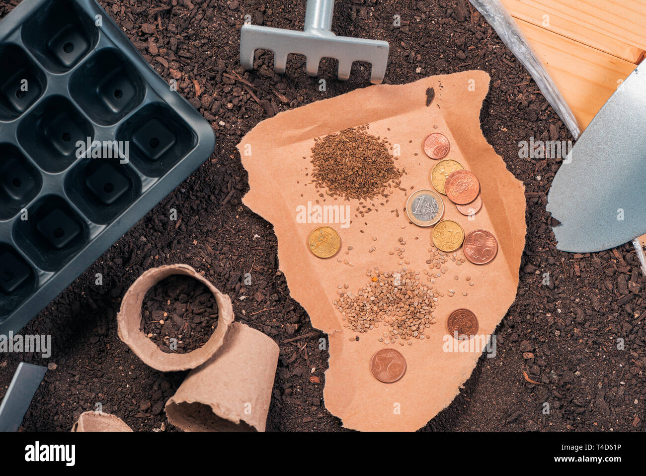 Inexpensive organic food production and gardening equipment, top view of tools and seed on wooden table in garden with some euro coins as concept of l - Stock Image
