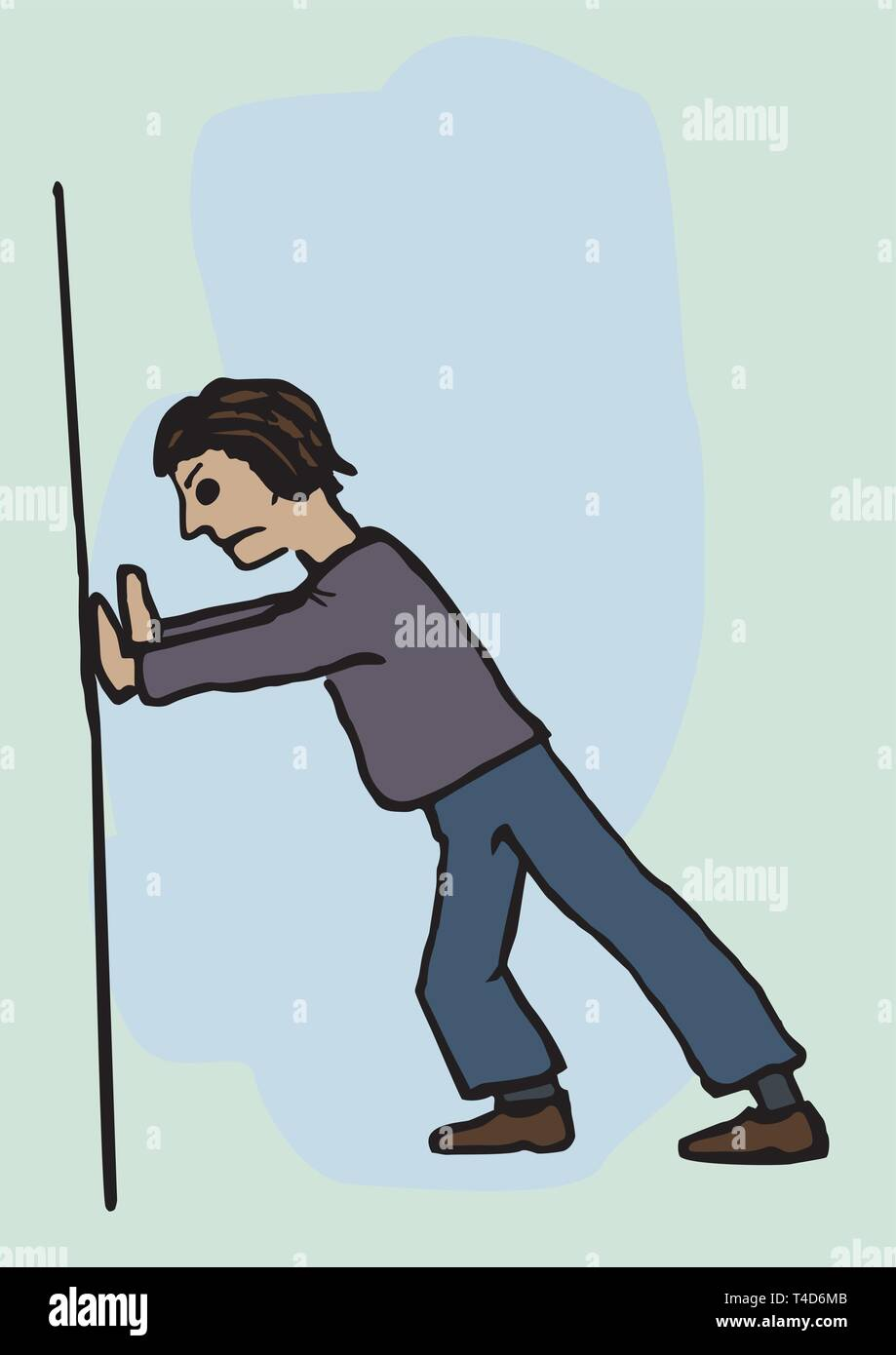 A man pushing against the wall - Stock Vector