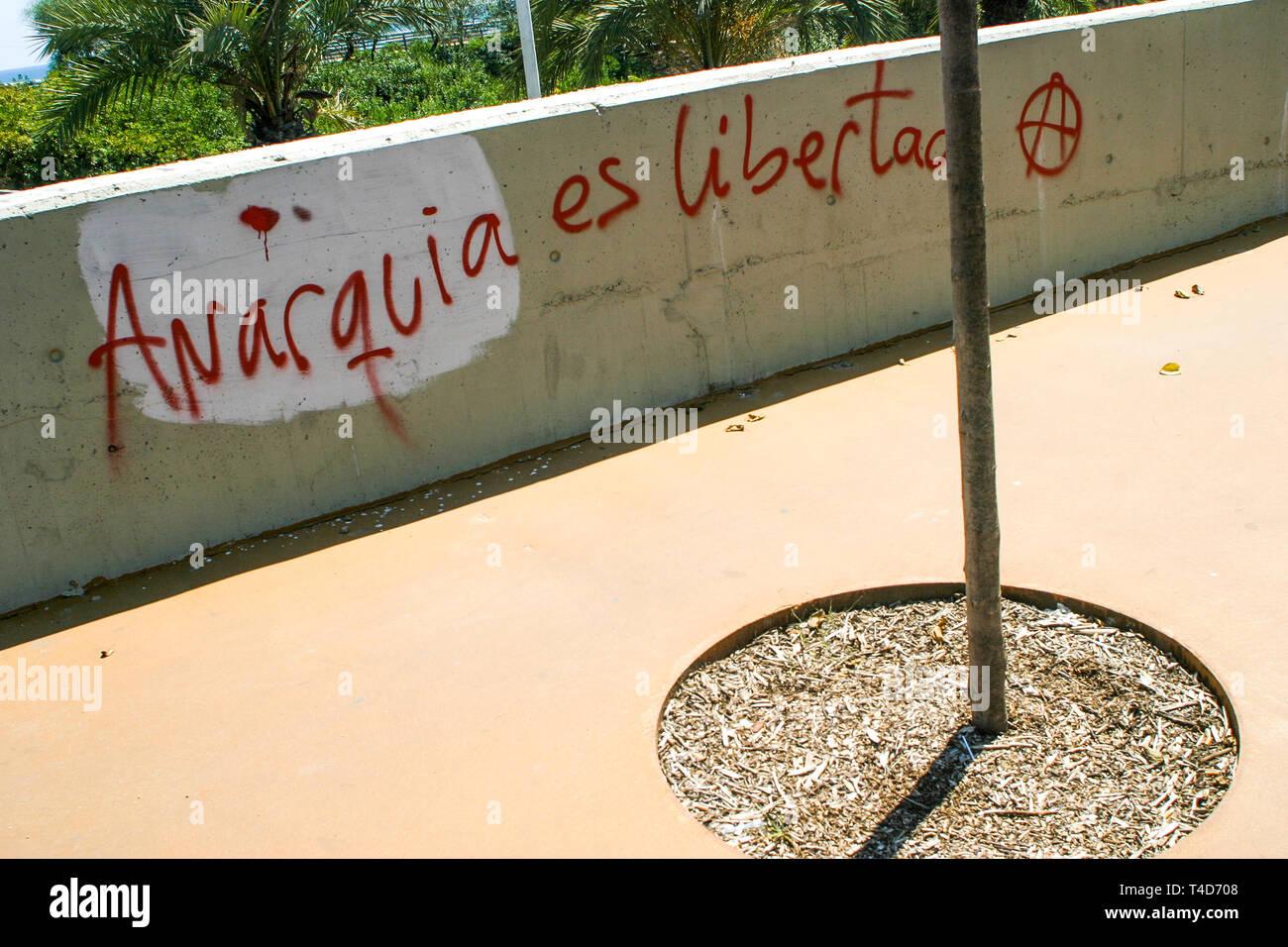 Graffiti Reading Anarchy Is Liberty Park Forum District Barcelona Catalonia Spain Stock Photo Alamy