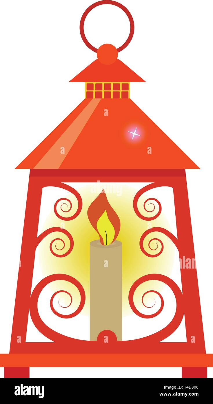 Arabian lantern for ramadan icon flat style. Isolated on white background. Vector illustration - Stock Vector