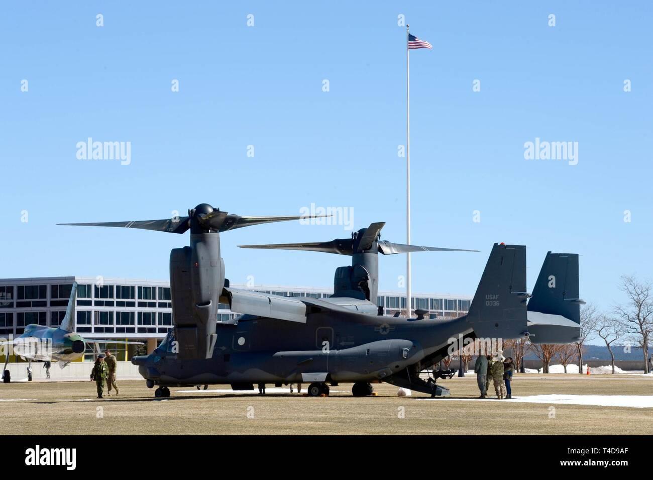 U.S. Air Force Academy A CV 22 Osprey sets up a static