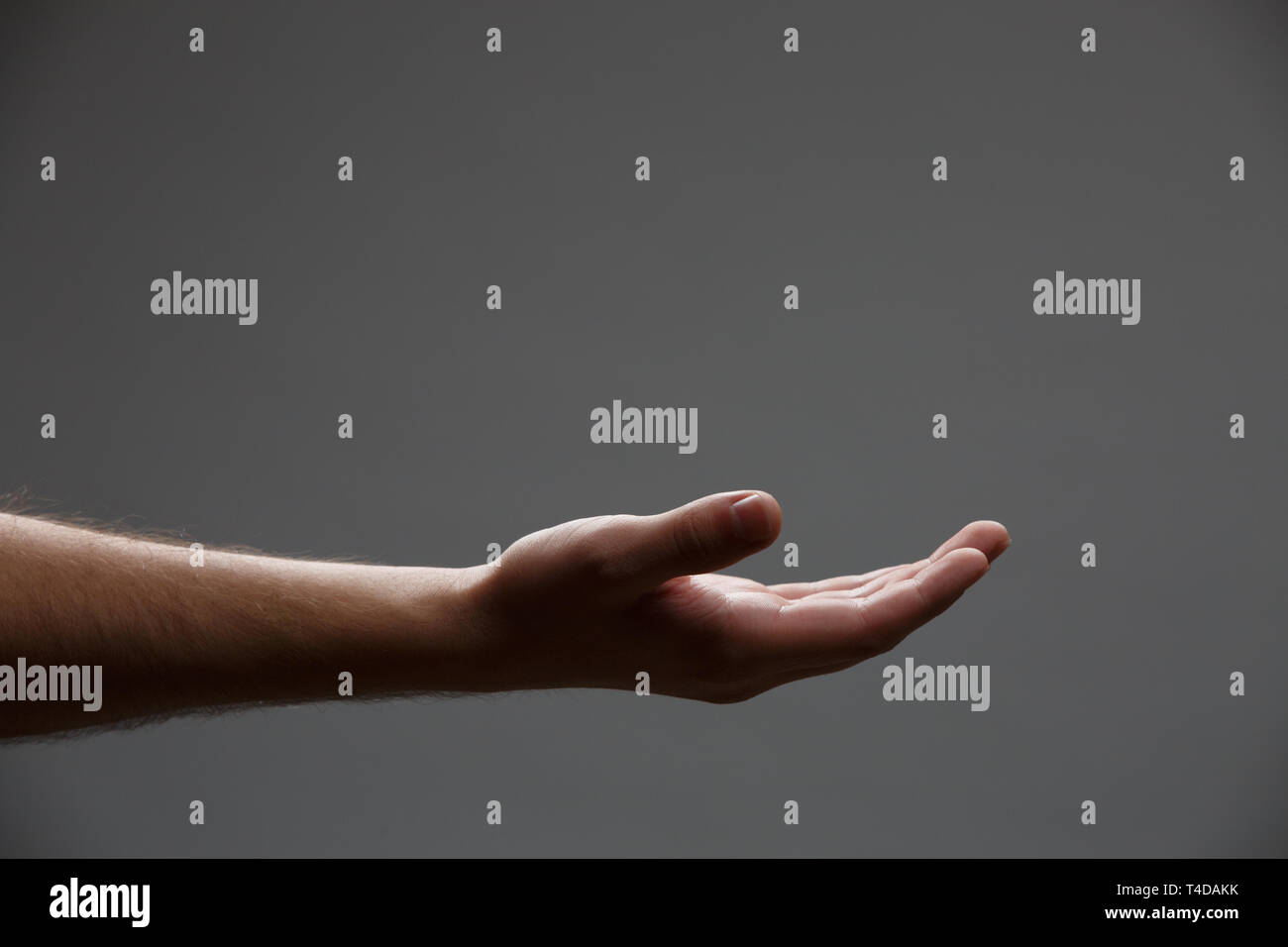 Photo of outstretched hand palm up on empty gray background. Stock Photo