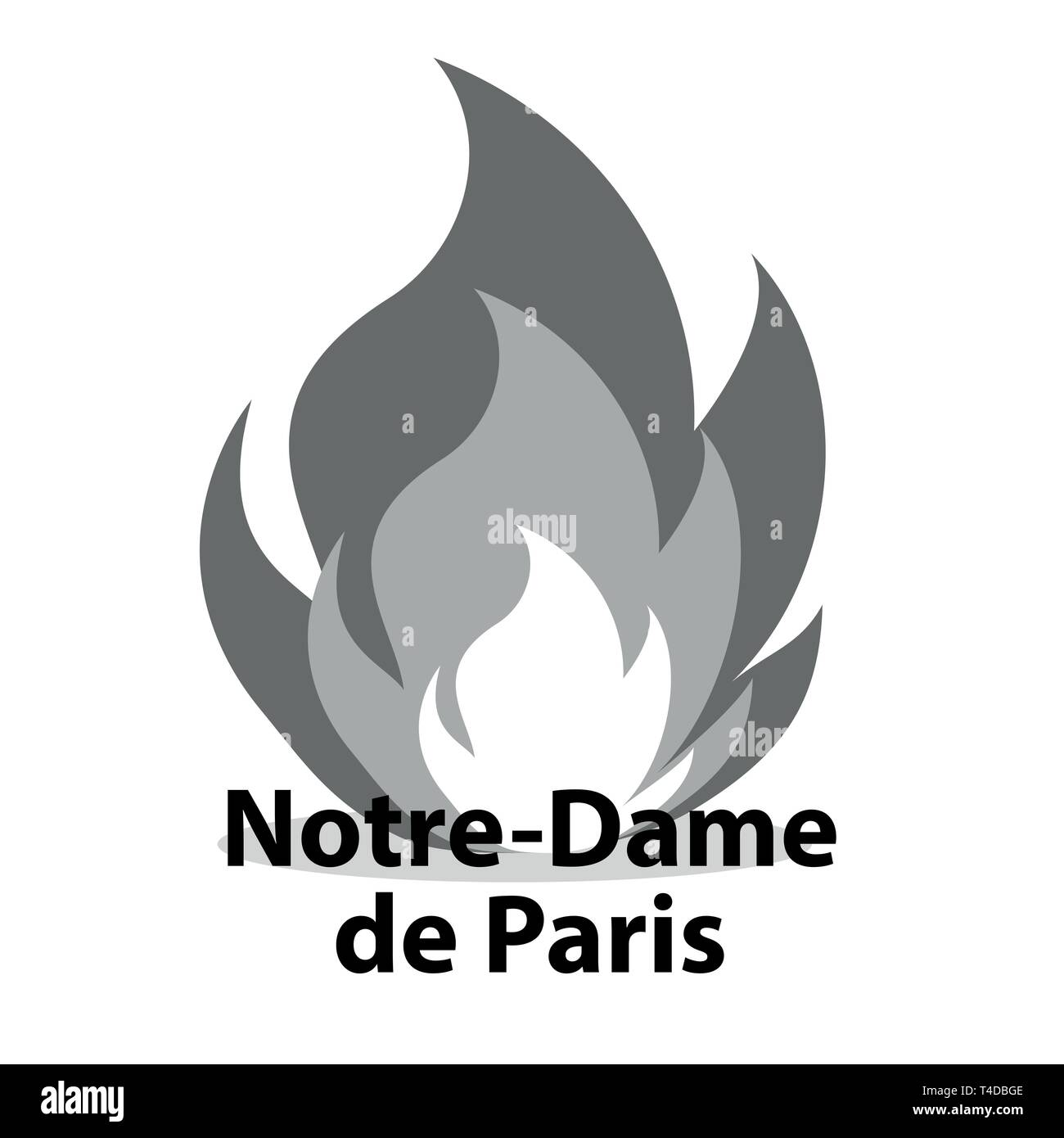 FRANCE - APRIL 15 2019 fire in the cathedral of Notre Dame - vector illustration - Stock Image