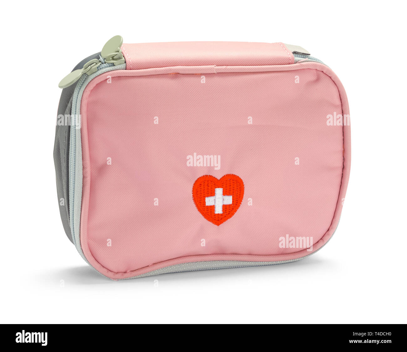 Pink First Aid Kit Isolated on White Background. Stock Photo