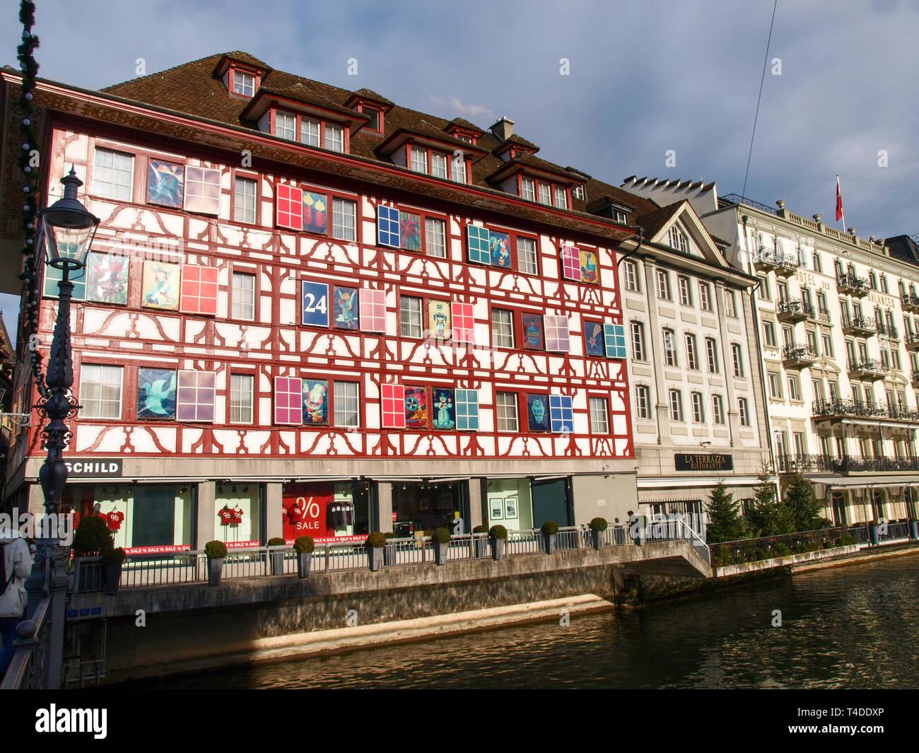 Lucerne Switzerland December 24 2016 Old City Center Of