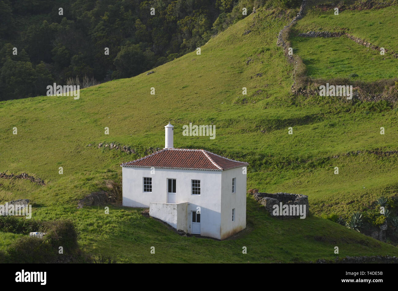 Traditional houses in Malbusca, Santa Maria island, Azores. This parish is now threatened by a project to install a satellite-launching base. - Stock Image