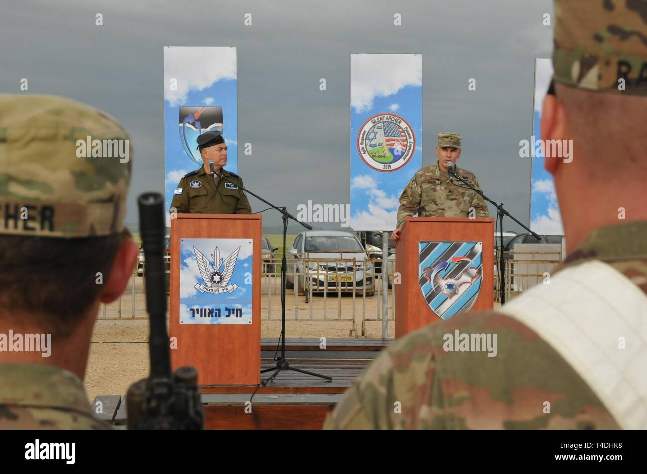 U.S. Army Col. David E. Shank, commander, 10th Army Air and Missile Defense Command, speaks during a closing ceremony for the Terminal High Altitude Area Defense system deployment to Israel, March 25, 2019. The ceremony concluded a first ever deployment of a THAAD battery, along with other supporting troops and equipment, to Israel under the Department of Defense's Dynamic Force Employment concept. - Stock Image