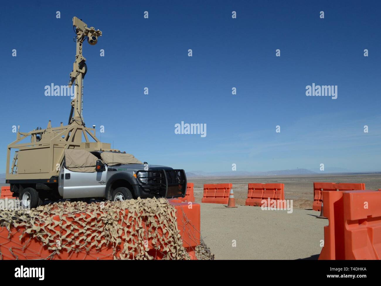 A Mobile Surveillance Camera parked on BP Hill in El Centro, Cali., March 28, 2019. The Department of Defense has deployed units across the Southwest Border at the request of U.S. Customs and Border Protection and is providing logistical, engineering, and force protection functions. Stock Photo