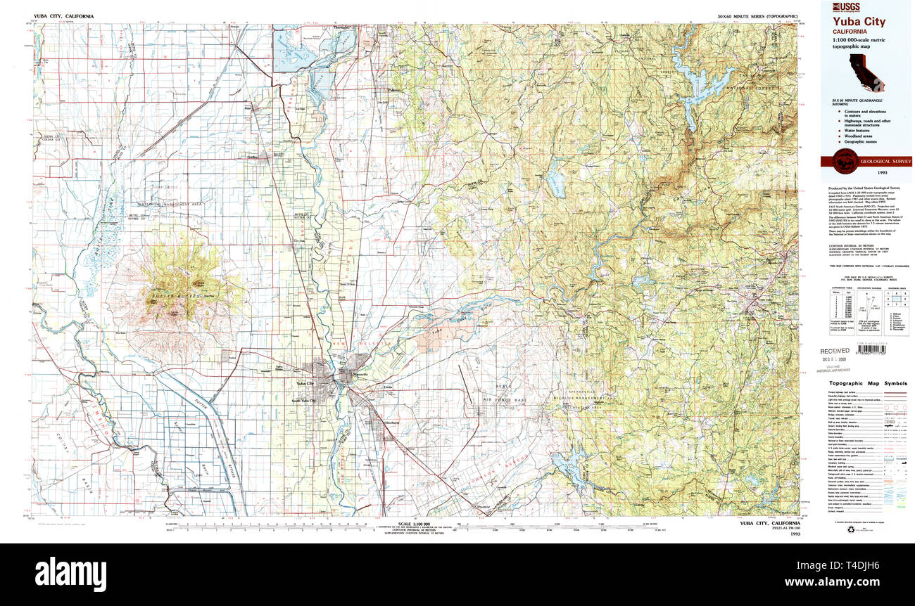Map Of California Yuba City.Usgs Topo Map California Ca Yuba City 299194 1993 100000 Restoration