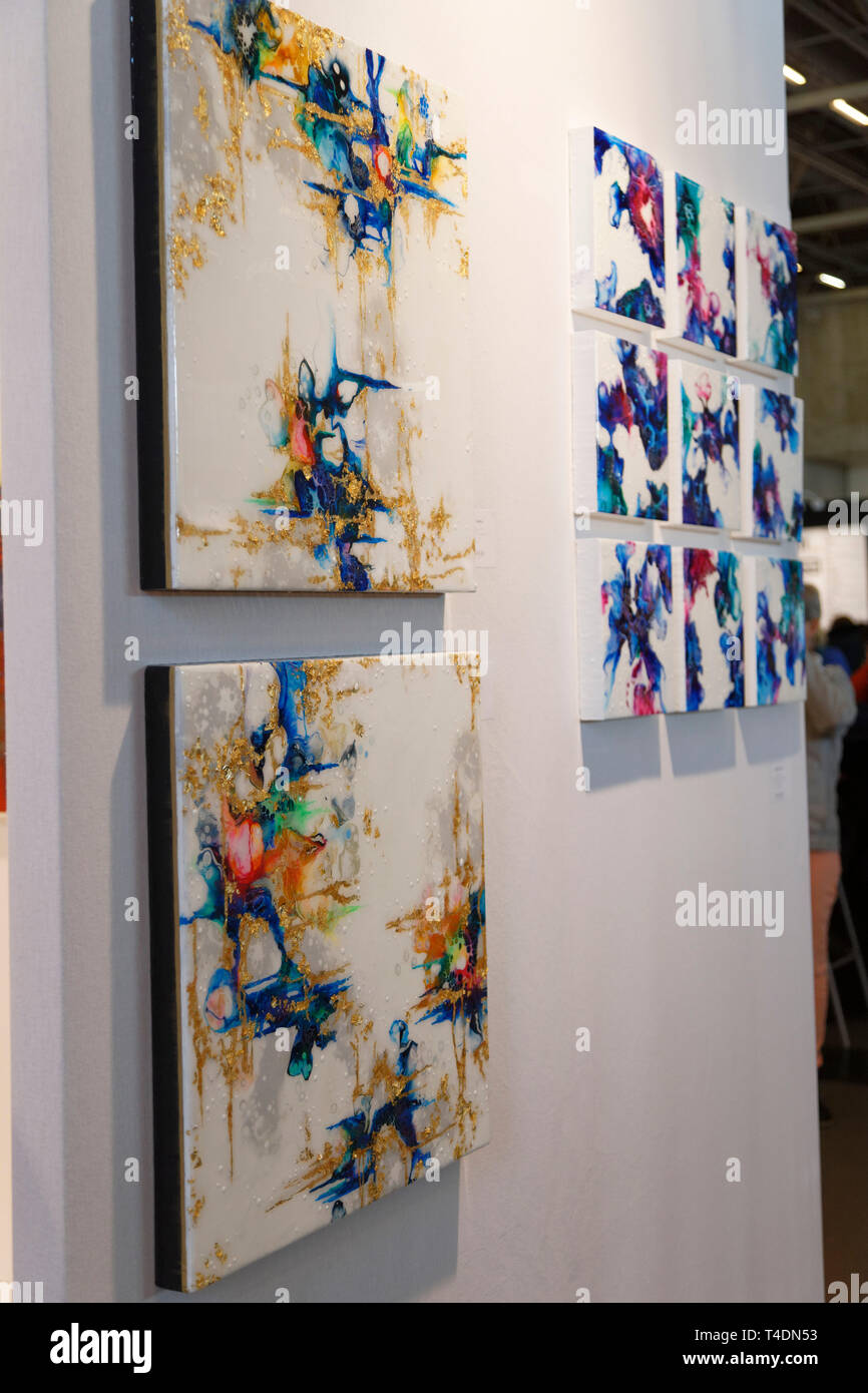 Artwork display at Contemporary Art Fair, International Exhibition of Contemporary Art from April 11 to 14, 2019, Paris, France.Credit: Veronique Phit - Stock Image