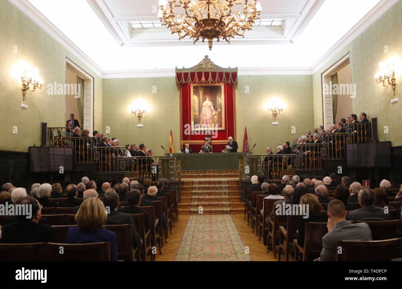 Salón de actos de Real Academia de Ciencias Exactas, Físicas y Naturales. - Stock Image