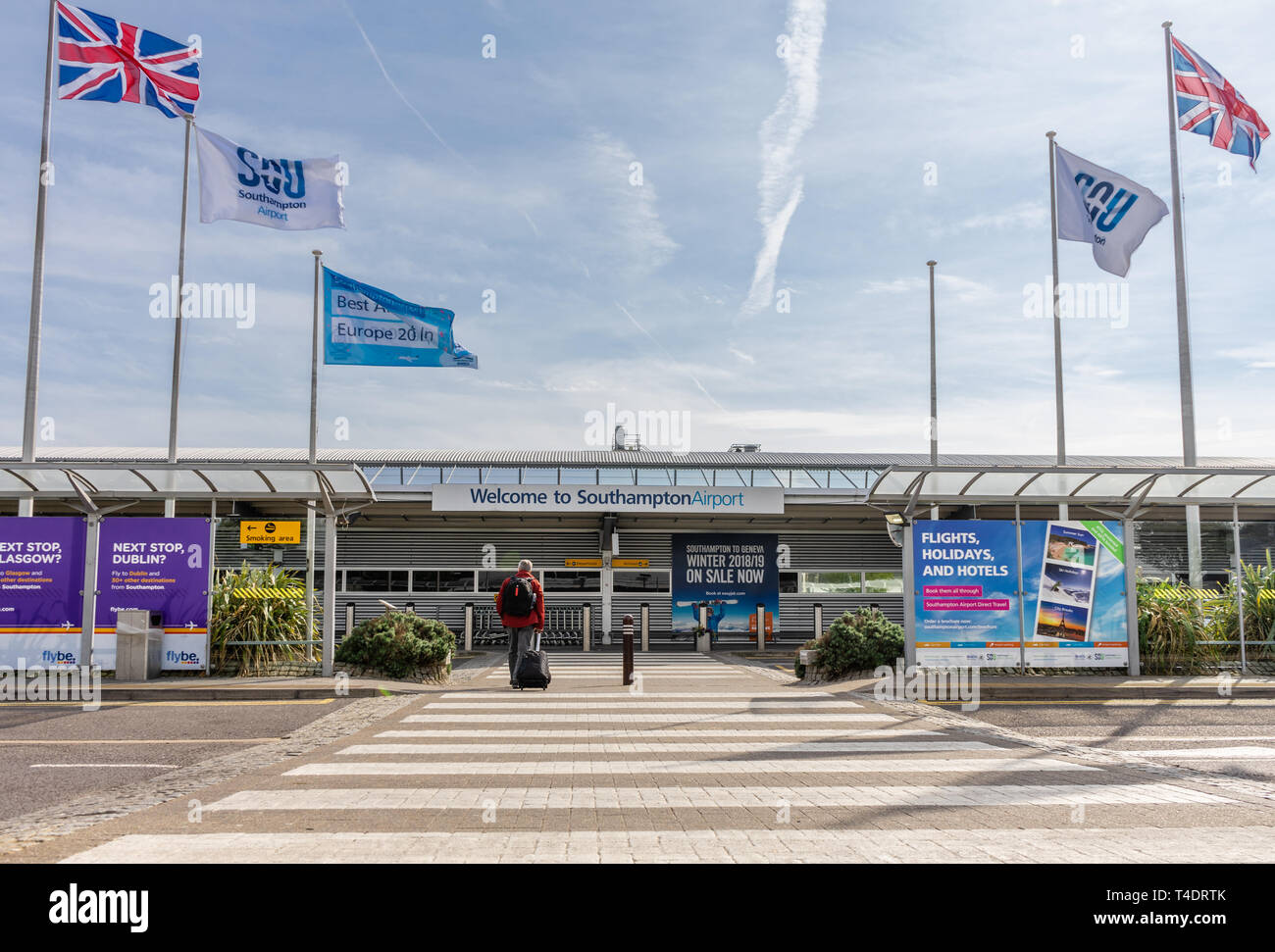 Entrance to Southampton Airport, a small International airport in Southampton, Hampshire, England, UK - Stock Image