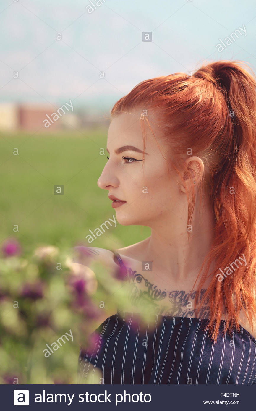redhead's face in profile - Stock Image