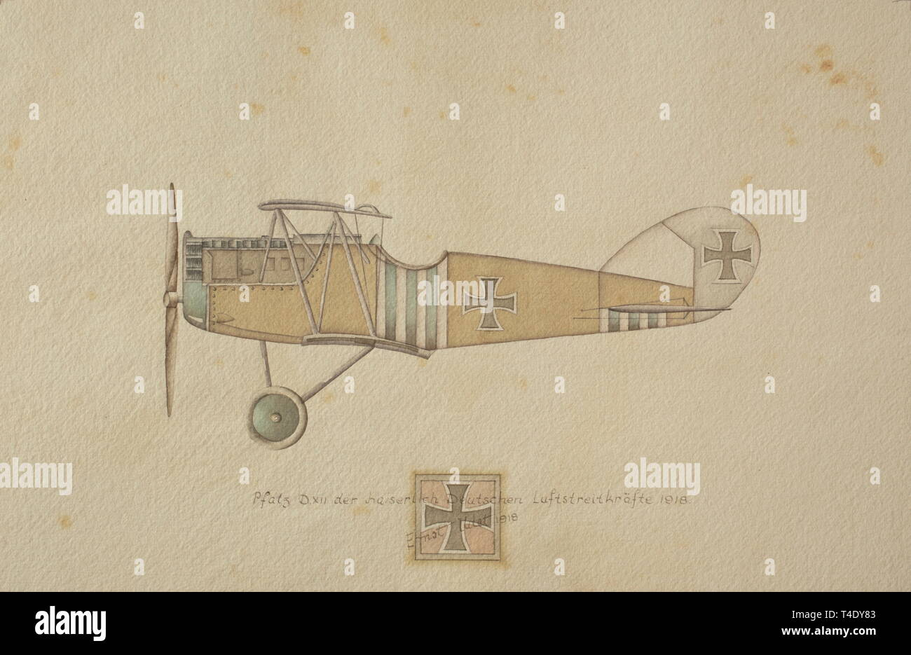 Ernst Udet - twelve drawings of German military aircraft of the 1st World War Aviatik (Berg) D.I. Bomber of the Austro-Hungarian Flying Corps 1917. Rumpler C.IV. Bomber of the Imperial German Flying Corps. Gotha G.V. Bomber of the Imperial German Flying Corps 1918. Halberstadt C.L.II of the Imperial German Flying Corps 1918. Fokker F.V. of the Imperial German Flying Corps 1918. Pfalz D.XII of the Imperial German Flying Corps 1918. Siemens Schuckert D III of the Imperial German Flying Corps. Fighter Squadron 4, Metz 1918 (Udet´s personal plane with the inscription 'LO!' for , Editorial-Use-Only - Stock Image