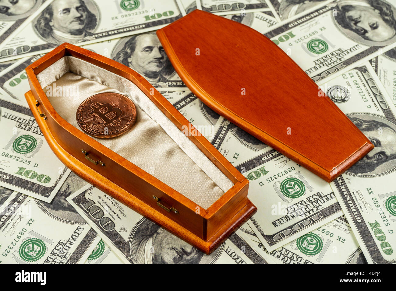 The value of bitcoin has seen significant losses.Bitcoin price going down concept. - Stock Image