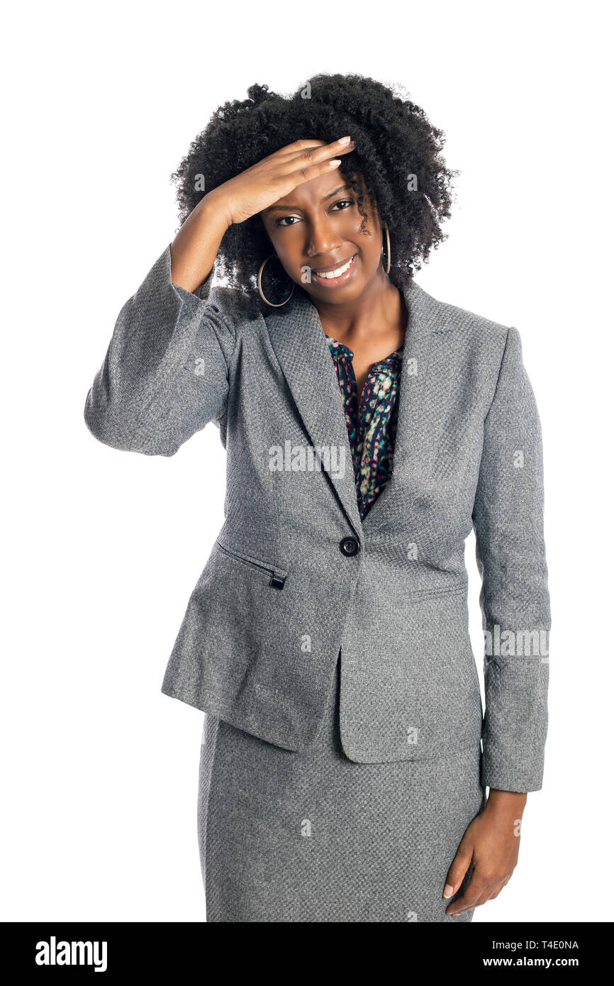 Black African American female businesswoman isolated on a white background in pain from a headache - Stock Image