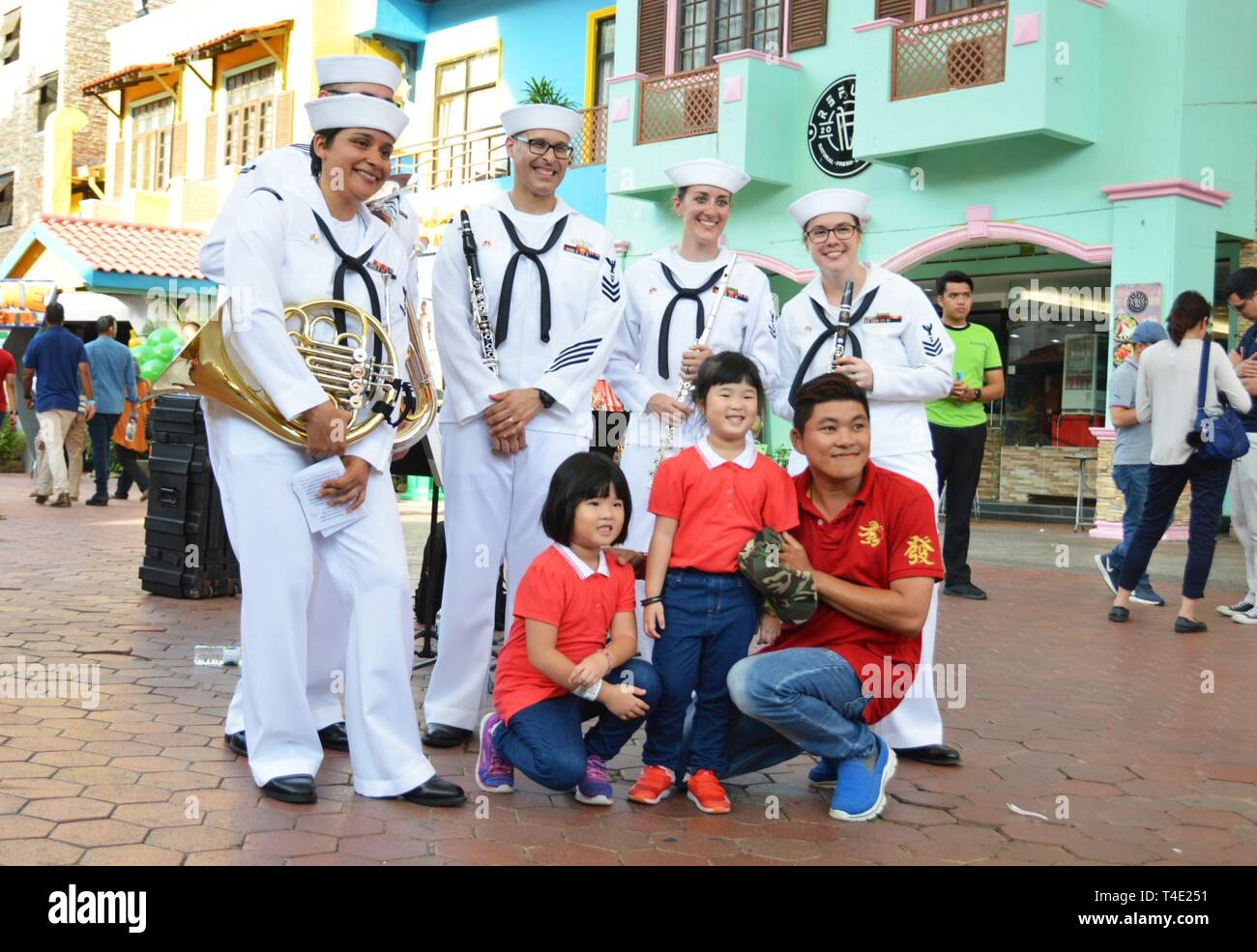 LANGKAWI, Malaysia (March 28, 2019) US 7th Fleet Band Performs at the Langkawi Sky Bridge as part of the Langkawi International Martime and Aerospace Exhibition (LIMA) 2019. 7th Fleet Band is embarked on the USS Blue Ridge (LCC 19)  and are actively working to foster relationships with allies and partners in the Indo-Pacific region. Stock Photo