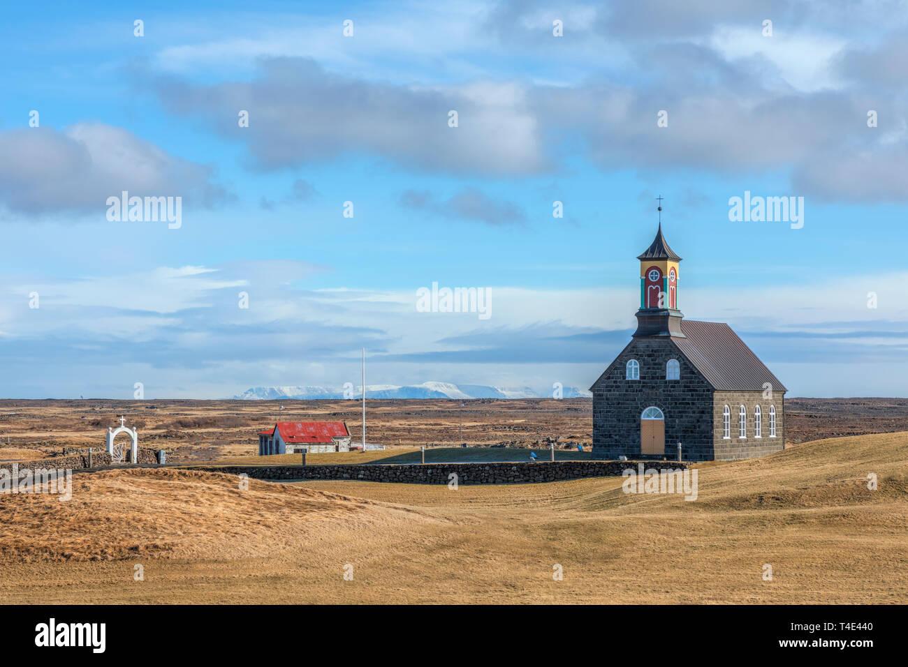 Hvalsneskirkja, Sandgerdi, Reykjanes, Sudurland, Iceland, Europe - Stock Image