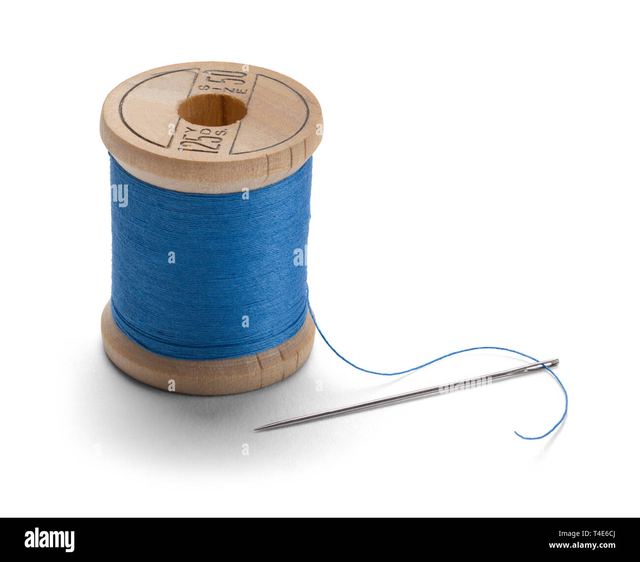 Blue Thread on Wood Spool with Needle Isolated on White Background. - Stock Image