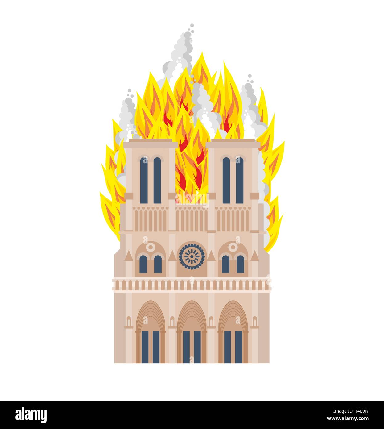 Notre Dame de Paris Fire. Burning roof of historic building in France. housetop flame - Stock Image