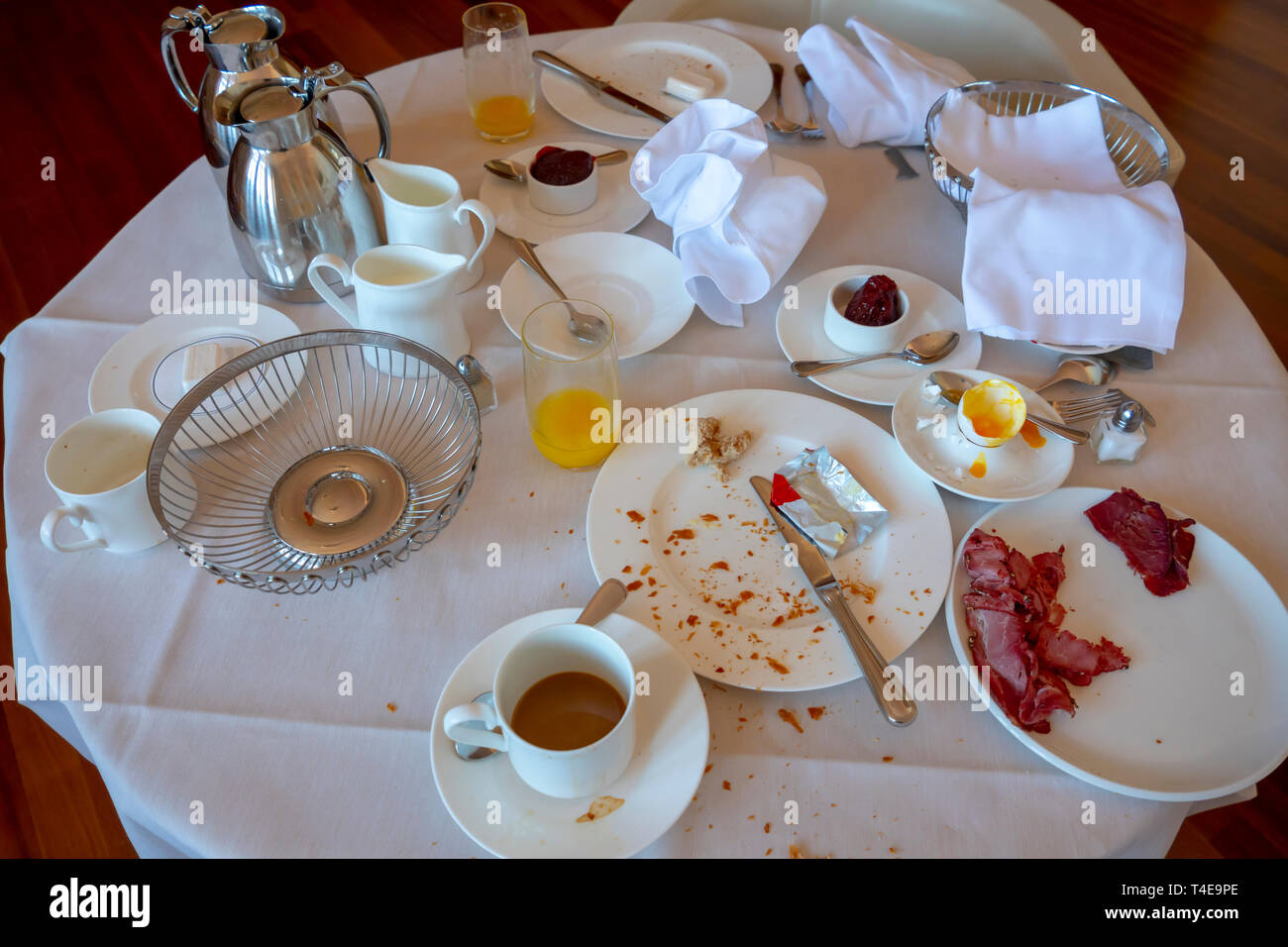 After Luxury Room Service Breakfast In Hotel Switzerland Stock Photo Alamy