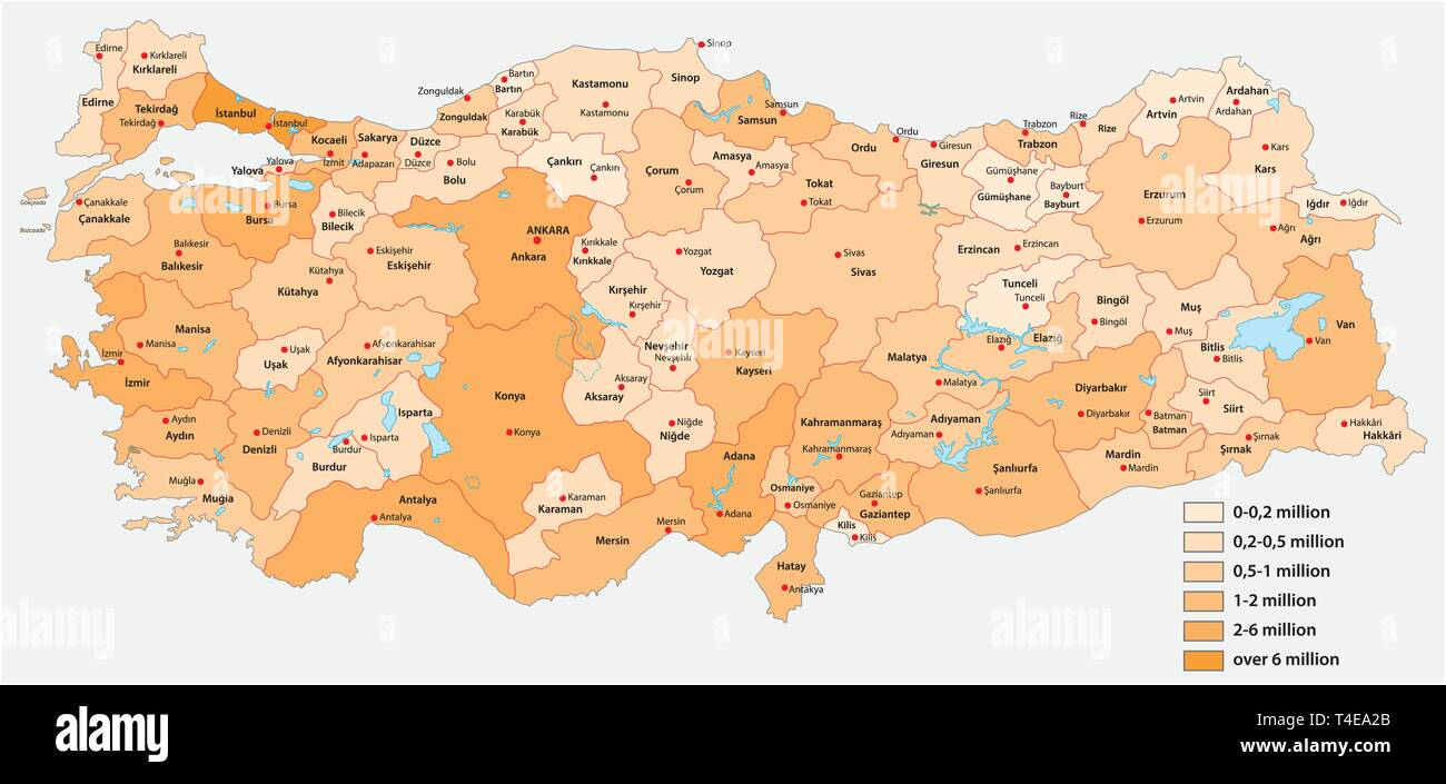 Vector population map of the Turkish provinces - Stock Image