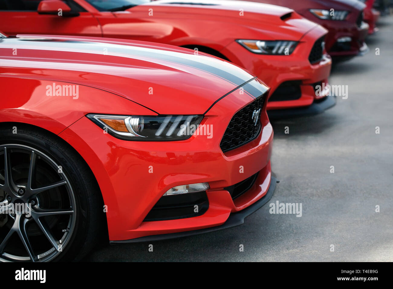 A line up of ford mustangs from the 2019 fabulous fords forever auto show in Anaheim California. Stock Photo