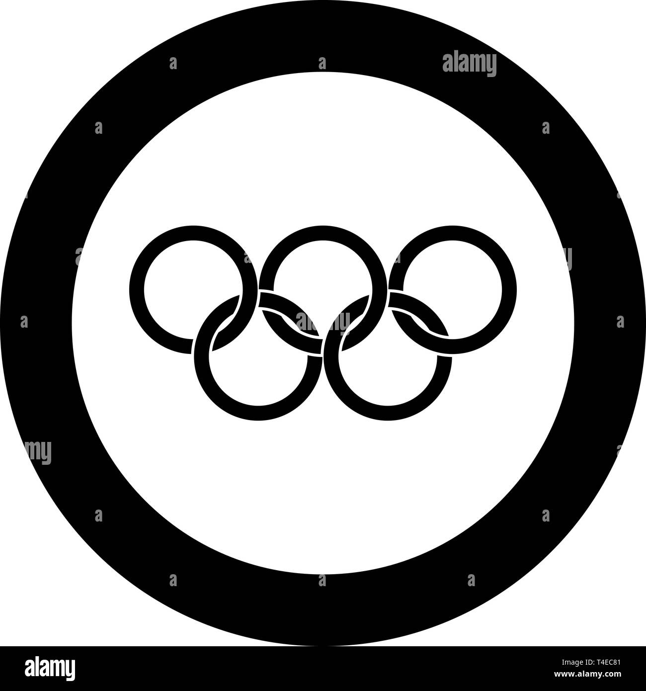 Olympic rings Five Olympic rings icon in circle round black color vector illustration flat style simple image - Stock Vector