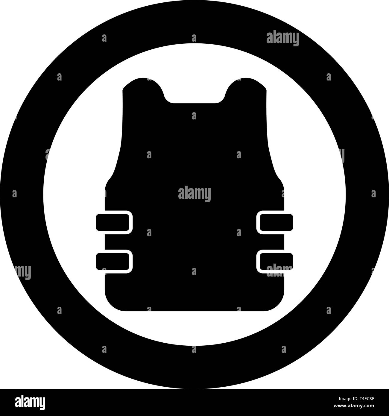 Bullet-proof vest flak jacket icon in circle round black color vector illustration flat style simple image - Stock Image