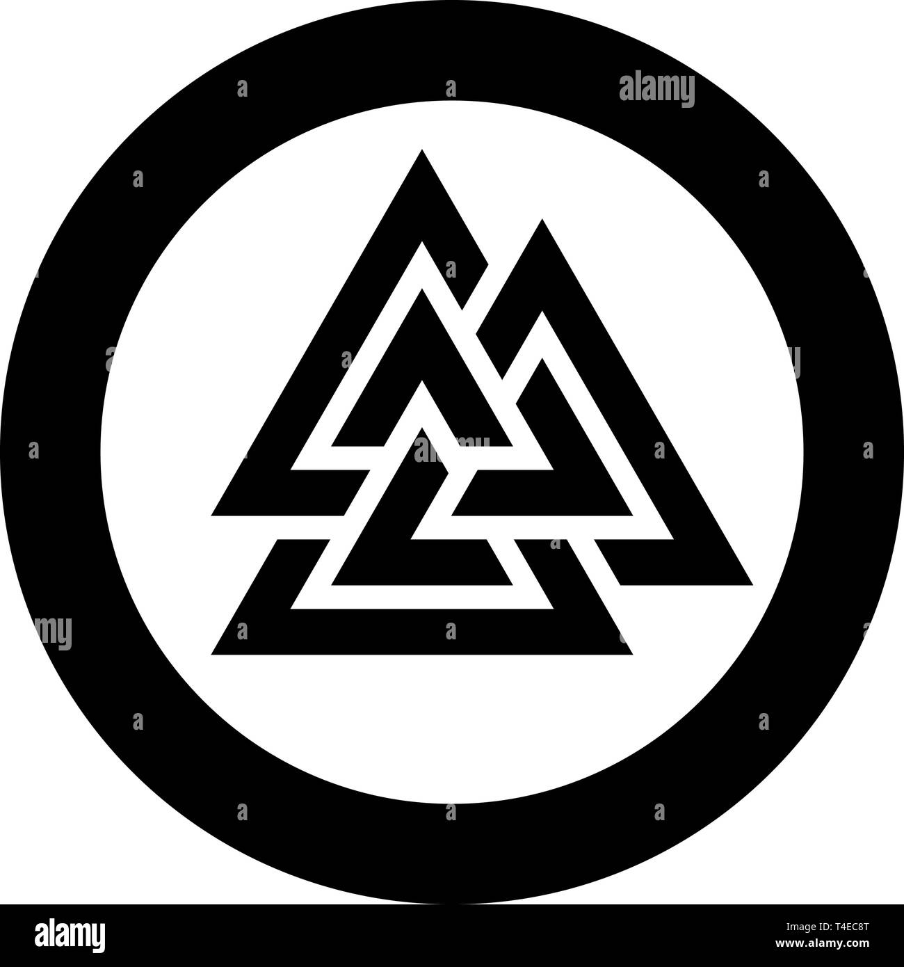 Valknut symbol icon in circle round black color vector illustration flat style simple image - Stock Vector