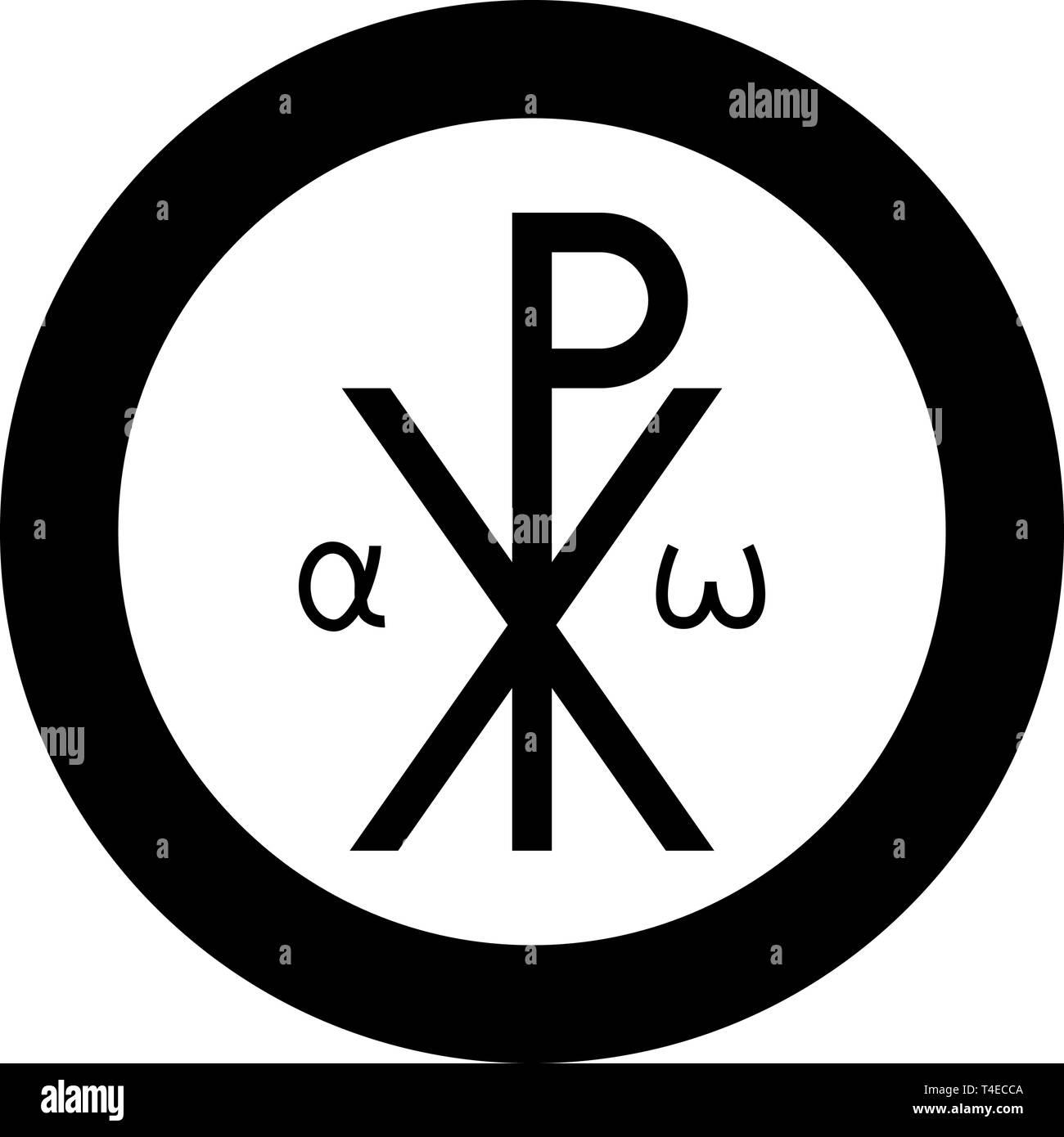 Crismon symbol Cross monogram Xi Hi Ro Konstantin Symbol Saint Pastor sign Religious cross Alfa Omega icon in circle round black color vector - Stock Vector