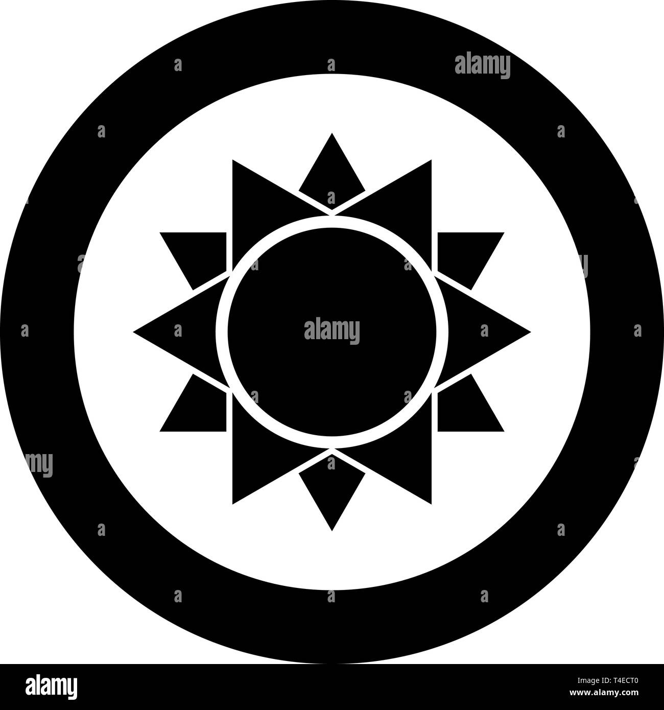 Sun icon in circle round black color vector illustration flat style simple image - Stock Vector