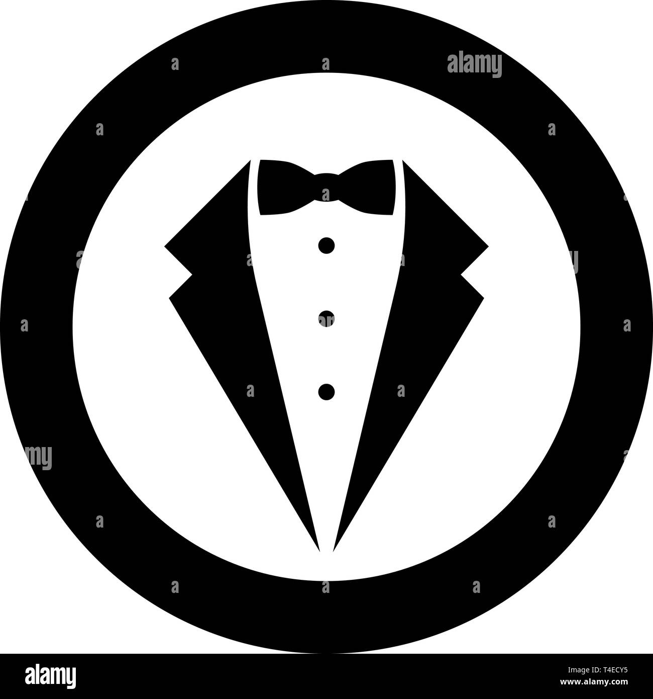 Symbol service dinner jacket bow Tuxedo concept Tux sign Butler gentleman idea Waiter suit icon in circle round black color vector illustration flat - Stock Image