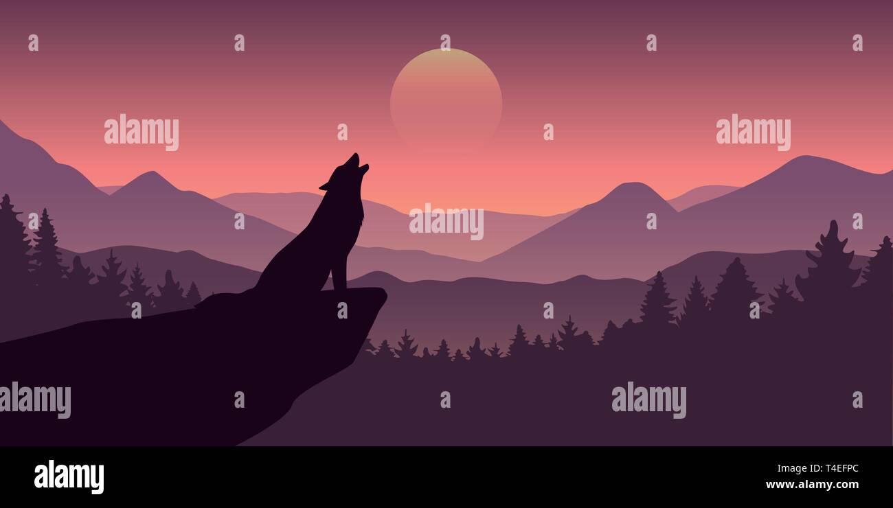 wolf howls at full moon purple wildlife nature landscape vector illustration EPS10 - Stock Image