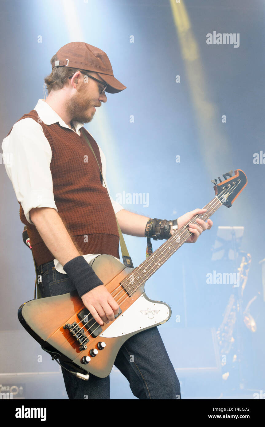 Greg Churchouse of Scouting for Girls performing at Cornbury Festival, UK. July 5, 2014 - Stock Image