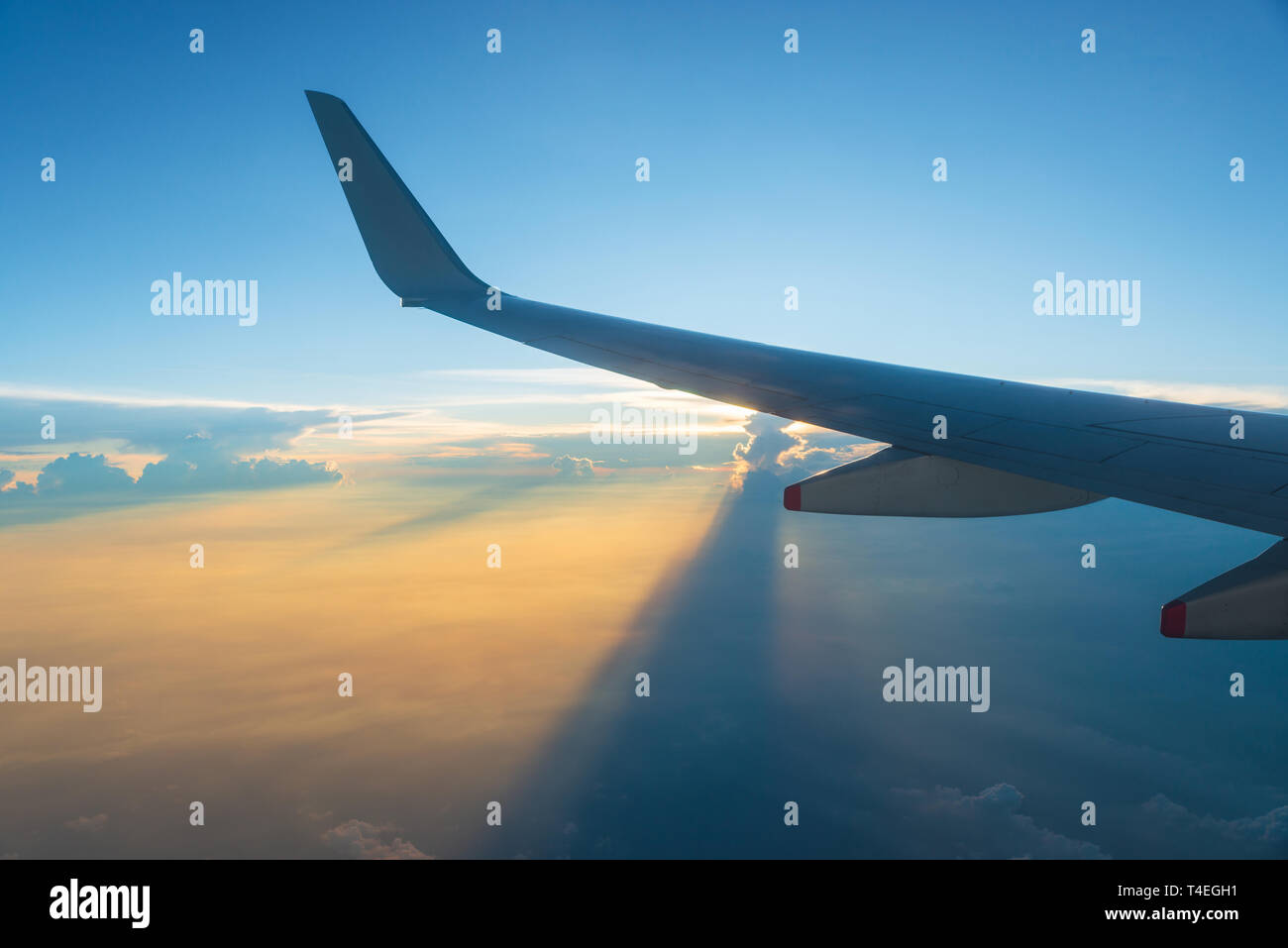 View of airplane wing and sunset sky. Plane in flight, clouds project long shadows. - Stock Image